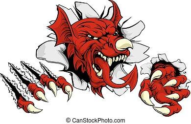 Welsh Dragon Tearing Out - Welsh red dragon Y Ddraig Goch...