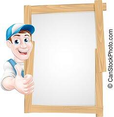 Thumbs up cartoon man sign