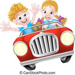 Cartoon Boy and Girl in Fast Car