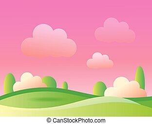 Green Sunny Lanscape Illustration. Summertime. - Green Sunny...