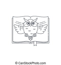 Wise owl opens the book. Vector linear illustration...