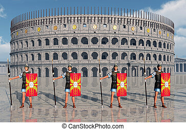 Legionaries and Colosseum - Computer generated 3D...