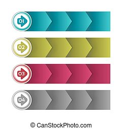 Process arrows boxes. step by step vector set. Four steps.