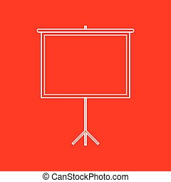Blank Projection screen. White icon on red background.