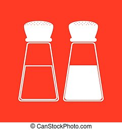 Salt and pepper sign. White icon on red background.