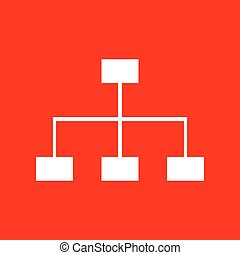 Site map sign. White icon on red background.