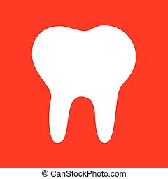Tooth sign illustration. White icon on red background.