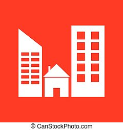 Real estate sign. White icon on red background.