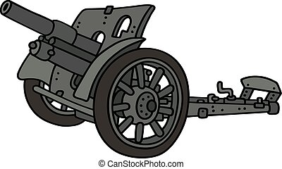 Vintage gray cannon - Hand drawing of a vintage gray cannon