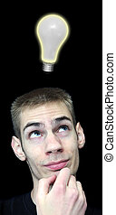 Young Man with Bright Idea - Young man scratching his chin...