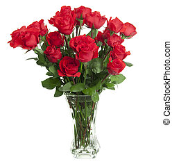 24 Roses in Glass Vase - Two dozen red roses isolated on...