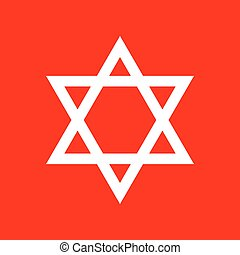 Shield Magen David Star. Symbol of Israel. White icon on red...