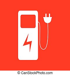 Electric car charging station sign White icon on red...
