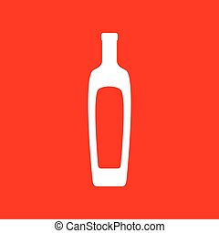 Olive oil bottle sign. White icon on red background.