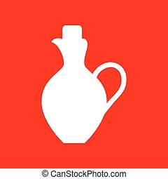 Amphora sign illustration White icon on red background