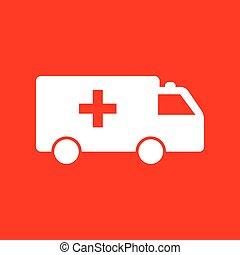 Ambulance sign illustration. White icon on red background.