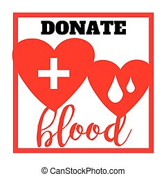Blood donation symbol. two hearts with cross and blood drops connected. creative emblem illustration isolated on white background.Template for poster, banner, advertisement, clear form, creative card.