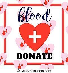 Blood donation symbol. two hearts with cross and blood drops connected. flat logo design. emblem illustration isolated. Template for poster, banner, advertisement, clear form, creative card.