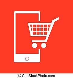 Shopping on smart phone sign