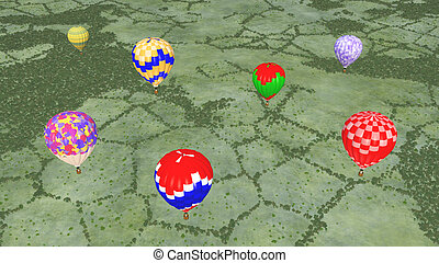 Hot air balloons over a landscape - Computer generated 3D...
