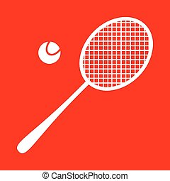 Tennis racquet sign White icon on red background