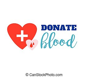Blood donation symbol. two hearts with cross and blood drops connected and lettering. flat logo design. creative emblem illustration isolated on white background.