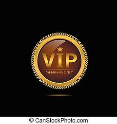 Golden VIP label - VIP. Member only. Golden luxury badge for...