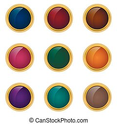 Award badge set Colored buttons with golden frames, Premium...