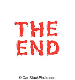 THE END text. Red blood letters. Vector illustration