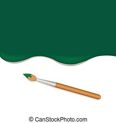 Green background with brush