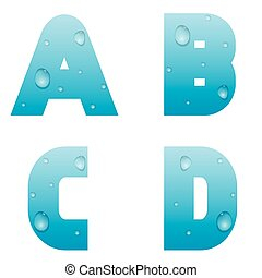 Alphabet with water drops