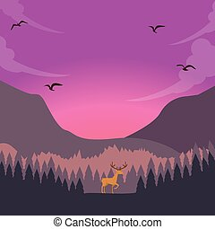 nature scene deer on sunset sunrise in forest majestic sky