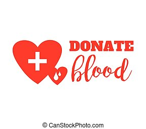 Blood donation symbol. two hearts with cross and blood drops connected. flat logo design. creative emblem illustration isolated on white background.