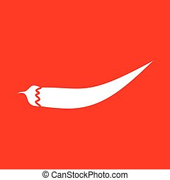 Chilli pepper sign White icon on red background