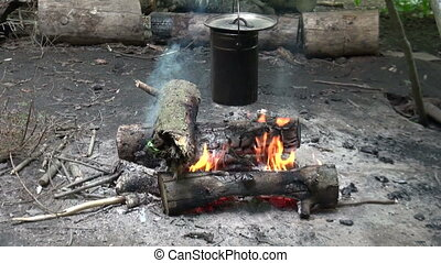 Camp pot campfire cooking. Video a fire in the woods. Travel...