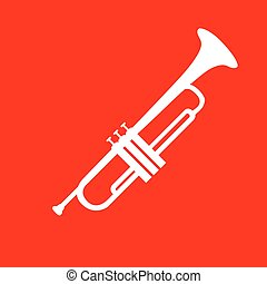 Musical instrument Trumpet sign. White icon on red...