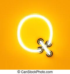 Neon light alphabet character Q font Neon tube letters glow...
