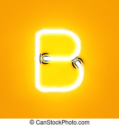 Neon light alphabet character B font. Neon tube letters glow...
