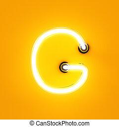 Neon light alphabet character G font