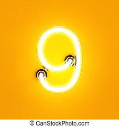 Neon light digit alphabet character 9 nine font Neon tube...