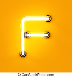 Neon light alphabet character F font. Neon tube letters glow...