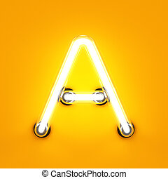 Neon light alphabet character A font. Neon tube letters glow...
