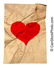 paper with fracture and heart - old natural dirty paper with...