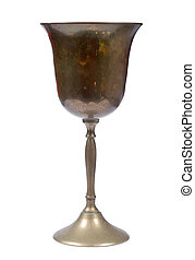 copper goblet - old empty copper goblet on white background
