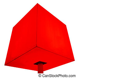red cube - illustration of red cube on leg at white...