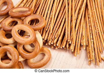 Bread ring and breadsticks - Fresh crips bread ring and salt...