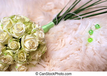 wedding bouquet and bedspread - beautiful wedding bouquet...