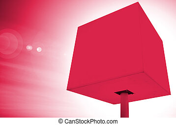 red cube - red illuminated cube on leg at white background
