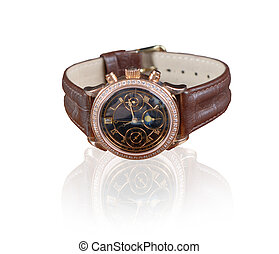 wristwatch - jewelry wristwatch with leather bracelet on...