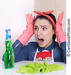 Streesed cleaning lady - Frustrated young cleaning lady...